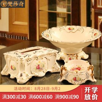 Vatican Sally's European compote suit creative home furnishing articles sitting room tea table decorations ceramic fruit bowl three-piece suit