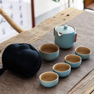 Bo yiu coarse pottery crack glass ceramic portable outdoor travel car teapot tea sets a pot of five cups of office