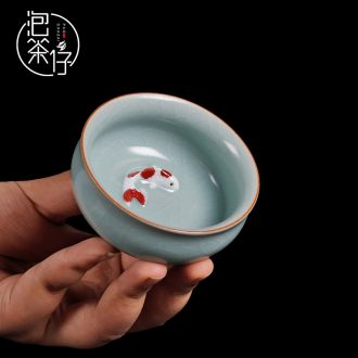 Tea seed your kiln ceramic cups manual master cup single cup fish bowl tea cup can keep open piece of tea light cup