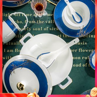 Fire color bone porcelain tableware high-grade jingdezhen ceramics dishes suit Chinese bowl suit household combination of gifts