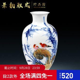 Master of jingdezhen ceramics hand-painted modern blue and white porcelain vase household act the role ofing is tasted handicraft furnishing articles