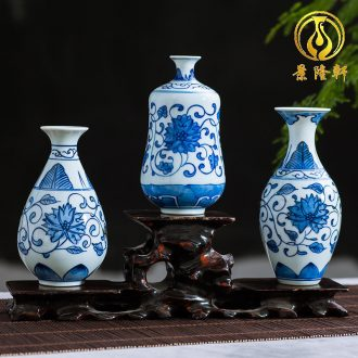 Jingdezhen ceramics antique blue-and-white hand-painted mini floret bottle of flower tea hydroponic creative rich ancient frame furnishing articles