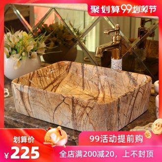 The rain spring basin art of jingdezhen ceramic table square toilet lavabo European archaize bath lavatory