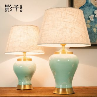 Jingdezhen ceramic desk lamp light full copper American luxury berth lamp of contemporary and contracted Europe type rural study sitting room adornment
