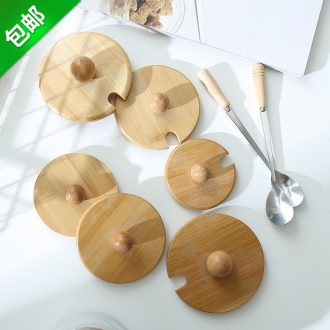 Circular general ceramic glass lid with top lid wooden mug cup spoons solid wooden spoon handle stainless steel