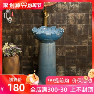 M beautiful balcony two-piece toilet ceramic basin bowl lavatory basin that wash a face to wash your hands blue porcelain lotus on stage