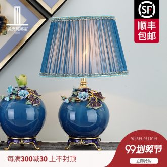 New Chinese style colored enamel porcelain lamp american-style villa luxury European ideas sitting room lamps and lanterns of bedroom the head of a bed lamp act the role ofing