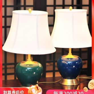 American whole copper ceramic desk lamp bedroom the head of a bed lamp LED light contracted luxury european-style decorative home study desk lamp X