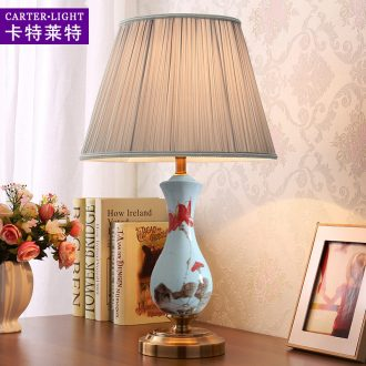 American ceramic desk lamp lights sitting room warm and romantic wedding creative study of bedroom the head of a bed is adjustable light remote control decoration
