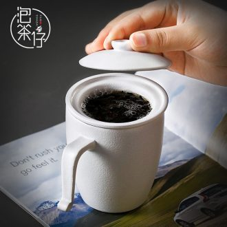 Tea seed filtered coarse ceramic cups with cover cup office meeting contracted cup tea filter separation of black tea