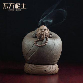 Oriental soil archaize ceramic purple dharma censer household indoor zen sandalwood nerves incense incense burner