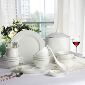 Japanese contracted personality dishes suit domestic high-grade jingdezhen northern wind web celebrity creative silver edge bone porcelain tableware
