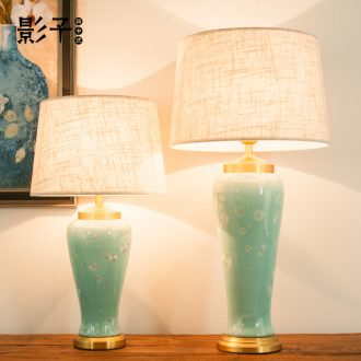 Ceramic lamp light French luxury european-style contracted sitting room of bedroom the head of a bed high American light luxury decorative copper lamps and lanterns