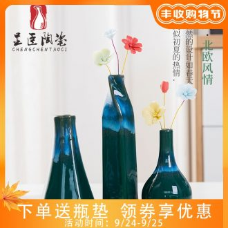 Jingdezhen ceramic vase flower arranging furnishing articles contemporary and contracted sitting room small and pure and fresh Nordic TV ark adornment