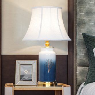 Creative American full copper ceramic desk lamp simple atmospheric LED study of the sitting room the bedroom nightstand chandeliers