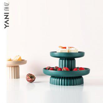 Designer compote Nordic double household light luxury multilayer ceramic fruit bowl sitting room tea cake dessert