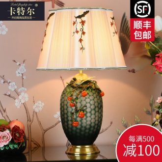 New Chinese style restoring ancient ways all copper colored enamel lamp bedroom berth lamp study creative decoration villa ceramic lamps and lanterns