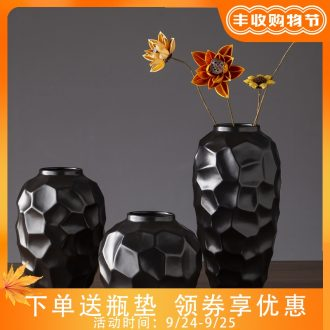 The new 2019 jingdezhen ceramic vases, contemporary and contracted black zen dry flower vase creative furnishing articles in the living room