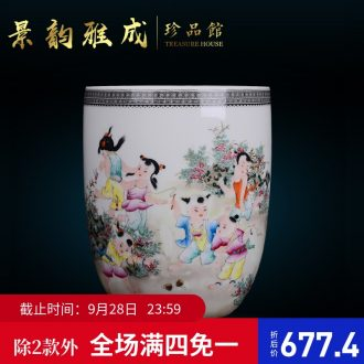 Jingdezhen ceramic household decorative dried flowers flower vase is placed new Chinese style living room porch porcelain arts and crafts