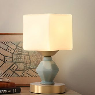Hilton full copper American study ceramic desk lamp sitting room bedroom desk lamp of the head of a bed individuality creative contracted lamps and lanterns