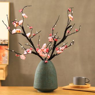 The wintersweet plum blossom peach tree flowers, silk flowers sitting room TV ark Chinese zen ceramic vases, flower art