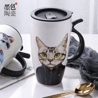 Cat high-capacity ceramic mug with cover lovely creative household contracted office water ink cup