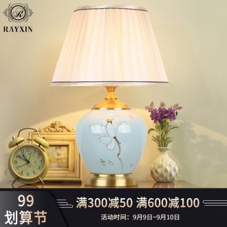 New Chinese style in the Nordic light luxury small desk lamp adornment bedroom berth lamp zen postmodern contracted sitting room ceramic full copper