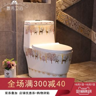 Jingdezhen milu deer forest European art ceramic toilet Nordic siphon ordinary household toilet implement