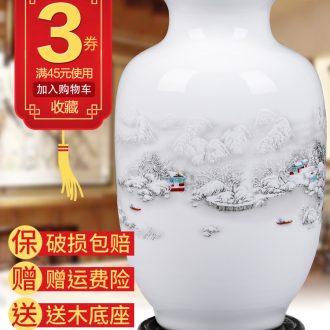 Jingdezhen ceramics floret bottle home furnishing articles dried flower arranging flowers Chinese style living room TV cabinet handicraft