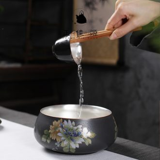 Is good source 999 sterling silver Japanese creative household kung fu tea set lay flowers tasted silver gilding of black ceramic large tea to wash