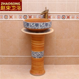 The sink basin of pillar type washs a face ceramic column balcony outdoor toilet ground station pond basin courtyard