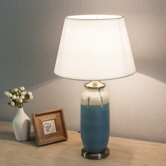New Chinese style personality ceramic desk lamp of French rural contemporary and contracted sitting room the bedroom blue bedside lights 1062