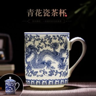 Jingdezhen ceramic cup with cover bone porcelain ceramic tea cup a cup of water glass office meeting gift cups
