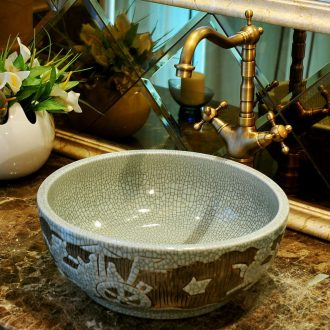Ceramic lavabo stage basin art lavatory basin european-style carving round wash basin bathroom basin