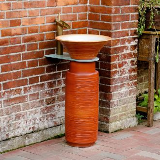 Pillar type washs a face basin floor hotel balcony outdoor vertical column basin ceramic lavabo restoring ancient ways is a body art