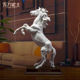 The east mud dehua white porcelain horse sculpture art creative ceramic office furnishing articles/uppity