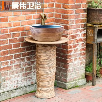 JingWei pillar basin sink pillar type lavatory sink one-piece basin ceramic floor balcony