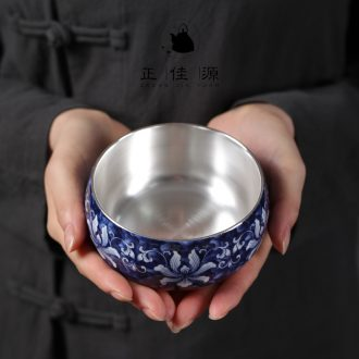 Is good source 999 sterling silver blue tasted silver gilding ceramic wash bowl XiCha kung fu tea tea accessories domestic cups to wash