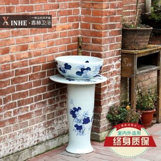 Pillar lavabo ceramics jingdezhen blue and white porcelain basin of peony art one floor toilet washs a face small column