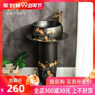 Koh larn restoring ancient ways, qi column type lavatory courtyard archaize floor ceramic one vertical column sink basin