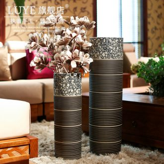 Ceramic floor bamboo vase manual sitting room simulation blue and white vase big furnishing articles retro cylindrical flower vases