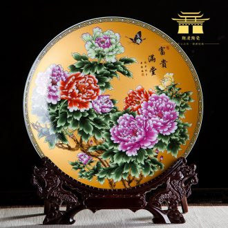Chinese jingdezhen ceramics with a silver spoon in her mouth and decorative hanging dish sit home wine rich ancient frame handicraft furnishing articles