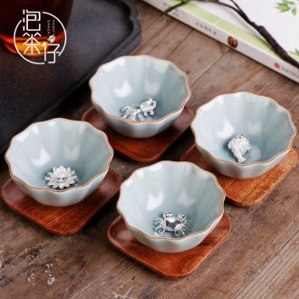 Tea seed ru kiln owners are glass ceramic manual Mosaic whitebait kung fu tea cups one small tea light cup opening
