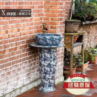 Lavabo blue-and-white ceramics basin of pillar type commode toilets art outdoor bathroom floor column basin