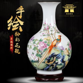 Jingdezhen ceramic powder enamel vase peony flower arrangement sitting room, office decoration furnishing articles large vases
