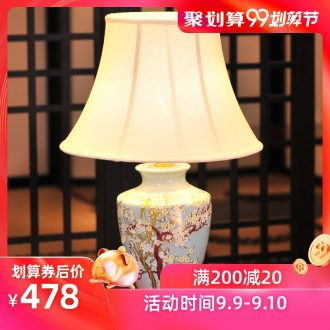 All copper ceramic desk lamp LED lamp of bedroom the head of a bed creative personality hand-painted painting of flowers and a sitting room a study of new Chinese style lamp