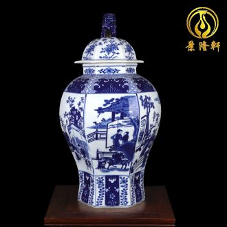 New Chinese blue and white porcelain ceramic vases, flower arrangement sitting room example that restore ancient ways the general pot of household soft outfit the flower furnishing articles