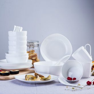 With 24 square head set tableware jingdezhen pure white bone China western-style dishes dishes mailed home to pack