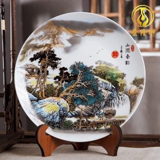 Jingdezhen ceramics furnishing articles household decorations hanging dish sitting room ark landscape decoration plate of Chinese arts and crafts