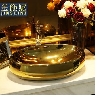 The gold-plated cellnique european-style bathroom sink stage basin gold silver ceramic basin bathroom sinks